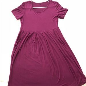 Dresses & Skirts - Plum colored cotton maternity dress with pockets!